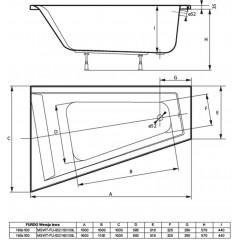 Asymetrická vaňa FURDO 150x100cm, ľavá