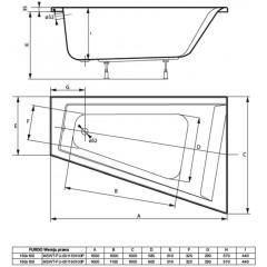 Asymetrická vaňa FURDO 150x100cm, pravá