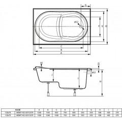 Akrylátová vaňa KUGE 120x75cm