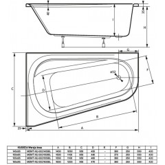 Asymetrická vaňa KUGEZA 150x85cm, ľavá