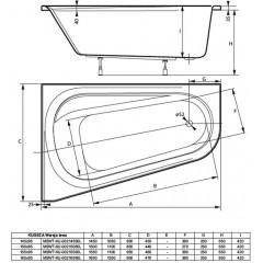 Asymetrická vaňa KUGEZA 155x95cm, ľavá