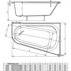 Asymetrická vaňa KUGEZA 155x95cm, pravá