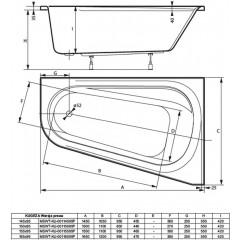 Asymetrická vaňa KUGEZA 165x95cm, pravá