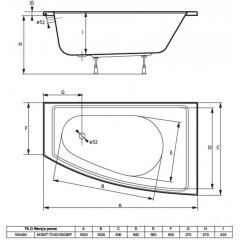 Asymetrická vaňa TILO 150x90cm, pravá