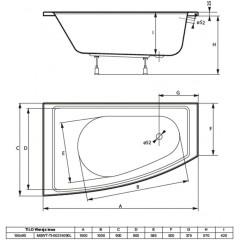 Asymetrická vaňa TILO 150x90cm, ľavá