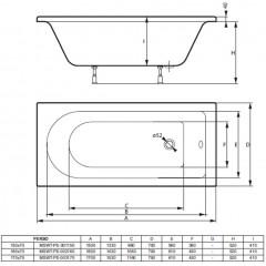 Akrylátová vaňa PERSO 150x70cm