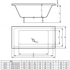 Akrylátová vaňa INDO 140x70 cm