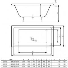 Akrylátová vaňa INDO 150x70 cm