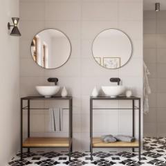 Okrúhle zrkadlo VALO Slim 70cm, čierne