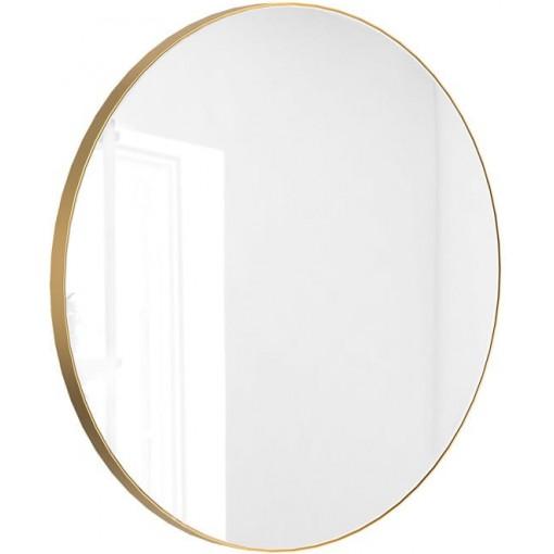 Okrúhle zrkadlo VALO Slim 80cm, zlatá matná
