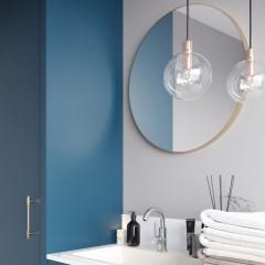 Okrúhle zrkadlo VALO Slim 100cm, zlatá matná