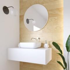 Okrúhle zrkadlo VALO Slim 100cm, biela