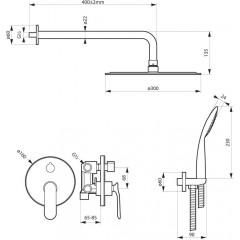 Podomietkový sprchový set CONCEPCIONs pákovou batériou, 2 výstupy, čierna