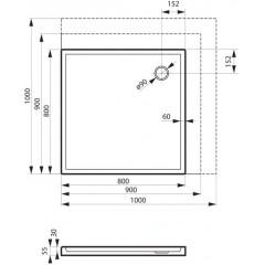 Sprchová vanička akrylátová PRIMERO, štvorec, 100x100x5cm