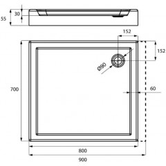 Sprchová vanička akrylátová PRIMERO, obdĺžnik, 90x70x5cm