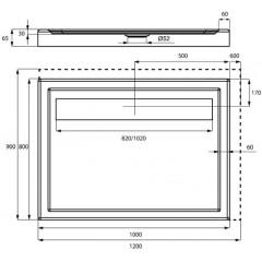 Sprchová vanička akrylátová LISTO, obdĺžnik, 100x80x6,5cm