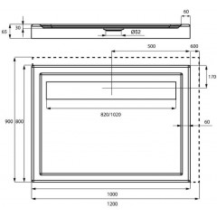Sprchová vanička akrylátová LISTO, obdĺžnik, 120x90x6,5cm