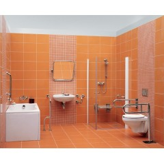 CERSANIT - Madlo 75x80 s montáží do podlahy a stěny pro WC, pravé (K97-037)
