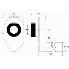 CERSANIT - Sifón pisoárový podomietkový, vodorovný K97-115