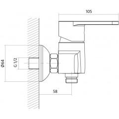 CERSANIT - Sprchová batéria CARI jednopáková, nástenná, bez prepínača, CHRÓM S951-026
