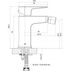 CERSANIT - Bidetová batéria VIGO jednopáková, jednootvorová, stojančeková, bez prepínača, CHRÓM (S951-015)