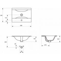 CERSANIT - Nábytkové umytadlo ONTARIO NEW 50 s prepad (K669-001)