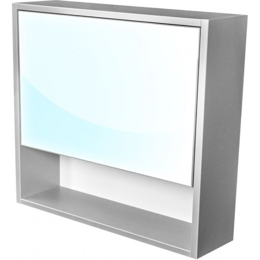 CEDERIKA - Amsterdam galerka 1x výklopné farba zrkadlo v AL ráme korpus korpus svetlosivá šírka 75 (CA.G1V.191.075)
