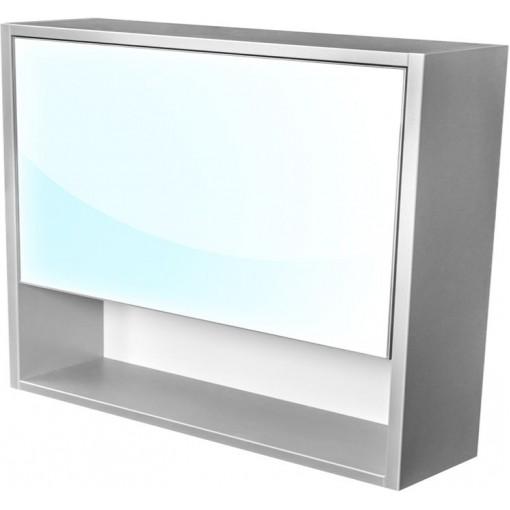 CEDERIKA - Amsterdam galerka 1x výklopné farba zrkadlo v AL ráme korpus korpus svetlosivá šírky 90 CA.G1V.191.090