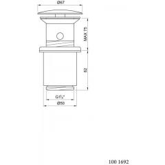 """STEINBERG - Odtokový ventil """"push-down"""" k umývadlám s prepadom 100 1692"""