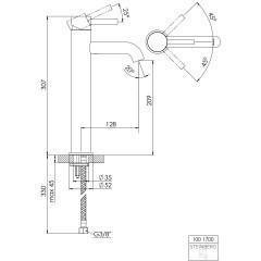 STEINBERG - Umývadlová páková batéria predĺžená bez výpustí, chróm 100 1700