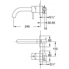 STEINBERG - Umývadlová podomietková páková batéria s výtokom 245 mm (100 1820)