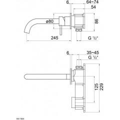 STEINBERG - Umývadlová podomietková páková batéria s výtokom 245 mm, bez telesa (100 1824)