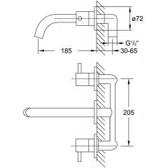 STEINBERG - Páková umývadlová 3-otvorová batéria pod omietku 185 mm, chróm 100 1902