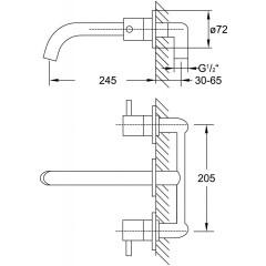 STEINBERG - Páková umývadlová 3-otvorová batéria pod omietku 245 mm, chróm 100 1916