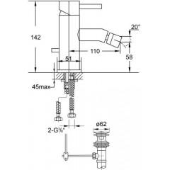 STEINBERG - Páková bidetová stojančeková batéria s výpustom, chróm (100 1300)