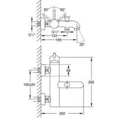 STEINBERG - Páková vaňová nástenná batéria, chróm 100 1100