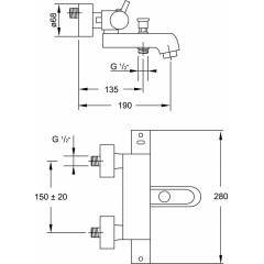 STEINBERG - Termostatická vaňová batéria s prepínačom, chróm (100 3100)