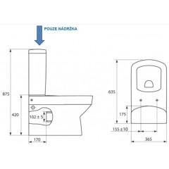 CERSANIT - Nádržka keramická PURE pre spodné napúšťanie bez mechanizmu (K99-12X)