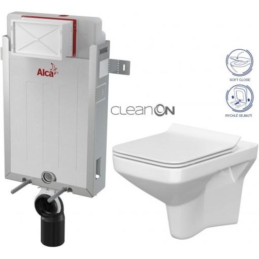 ALCAPLAST - SET Renovmodul - predstenový inštalačný systém + WC CERSANIT CLEANON COMO + SEDADLO (AM115/1000 X CO1)
