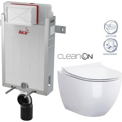 ALCAPLAST Renovmodul - predstenový inštalačný systém bez tlačidla + WC CERSANIT ZEN CLEANON + SEDADLO AM115/1000 X HA1