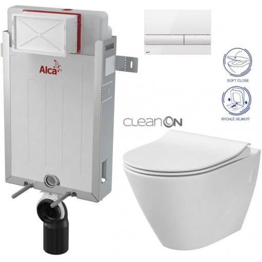 ALCAPLAST - SET Renovmodul - predstenový inštalačný systém + tlačidlo M1710 + WC CERSANIT CLEANON CITY + SEDADLO (AM115/1000 M1710 CI1)