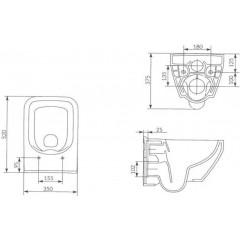 ALCAPLAST - SET Renovmodul - predstenový inštalačný systém + tlačidlo M1710 + WC CERSANIT CLEANON CREA ŠTVOREC + SEDADLO (AM115/1000 M1710 CR2)
