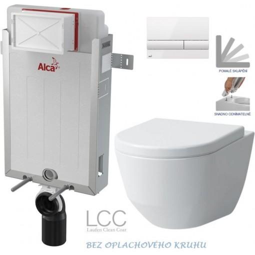 ALCAPLAST Renovmodul - predstenový inštalačný systém s bielym tlačidlom M1710 + WC LAUFEN PRO LCC RIMLESS + SEDADLO (AM115/1000 M1710 LP2)