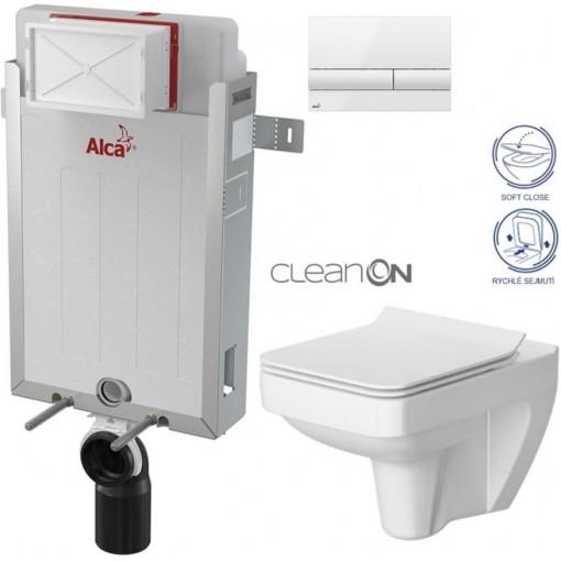 ALCAPLAST Renovmodul - predstenový inštalačný systém s bielym tlačidlom M1710 + WC CERSANIT CLEANON SPLENDOUR + SEDADLO (AM115/1000 M1710 SP1)