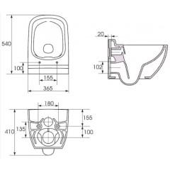 ALCAPLAST - SET Renovmodul - predstenový inštalačný systém + tlačidlo M1720-1 + WC CERSANIT CLEANON CASPIA + SEDADLO (AM115/1000 M1720-1 CP1)