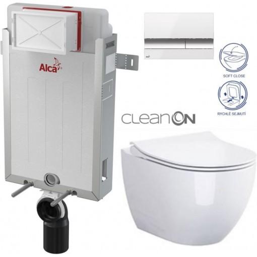 ALCAPLAST Renovmodul - predstenový inštalačný systém s bielym / chróm tlačidlom M1720-1 + WC CERSANIT ZEN CLEANON + SEDADLO (AM115/1000 M1720-1 HA1)
