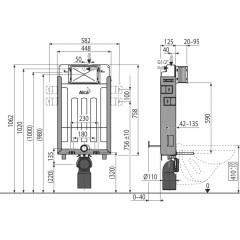 ALCAPLAST - SET Renovmodul - predstenový inštalačný systém + tlačidlo M1720-1 + WC CERSANIT MITO + SEDADLO (AM115/1000 M1720-1 MI1)