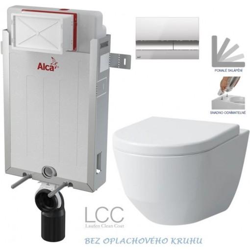 ALCAPLAST - SET Renovmodul - predstenový inštalačný systém + tlačidlo M1721 + WC LAUFEN PRO LCC RIMLESS + SEDADLO (AM115/1000 M1721 LP2)
