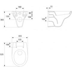 ALCAPLAST - SET Renovmodul - predstenový inštalačný systém + tlačidlo M1721 + WC CERSANIT PRESIDENT + SEDADLO (AM115/1000 M1721 PR1)