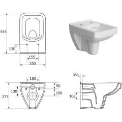 ALCAPLAST - SET Sádromodul - predstenový inštalačný systém určený pre suchú inštaláciu 1,2 m + WC CERSANIT CLEANON SPLENDOUR + SEDADLO (AM101/1120 X SP1)